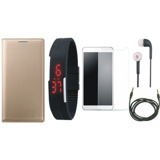 Samsung J2 Core Flip Cover with Free Digital LED Watch, Tempered Glass, Earphones and AUX Cable by Vivacious ( Gold )