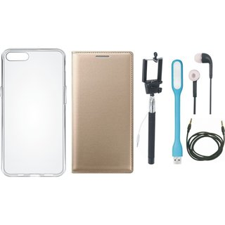 Samsung J4 Flip Cover with Silicon Back Cover, Selfie Stick, Earphones, USB LED Light and AUX Cable by Vivacious ( Gold )