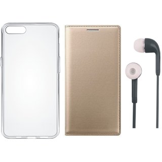 Samsung J2 Core Flip Cover with Silicon Back Cover and Earphones by Vivacious ( Gold )