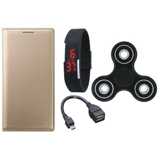 Samsung J4 Premium Leather Cover with Spinner, Digital Watch and OTG Cable by Vivacious ( Gold )