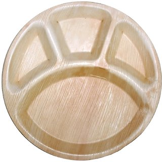 Disposable Party Plates- Areca leaf plates - Palm leaf plates - Pack of 50 (12 X 12 inch) - Bio degradable Round