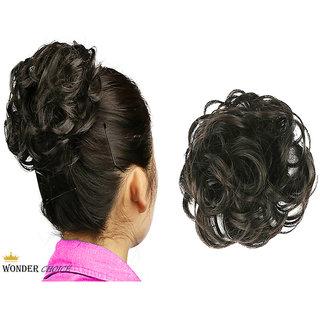 Wonder Choice Women Hair Bride Bun Stylish Rubber Bun Juda Free Size - Natural Black, Hair Extensions