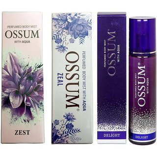 OSSUM ZEAL PERFUMED BODY MIST 115 ML+ DELIGHT PERFUMED BODY AQUA 115 ML+ ZEST PERFUMED BODY MIST 115 ML Deodorant Spray