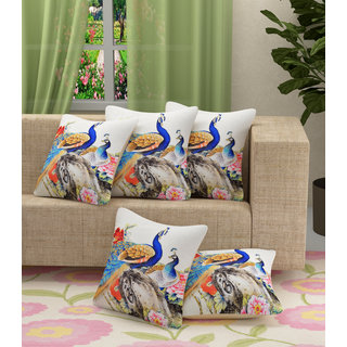Choco Peacock Jute Printed CouShion Cover Pack of 5 High Quality Products