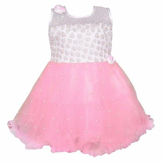 KYLON Pink A-line stylish party wear Girl's Net Frock