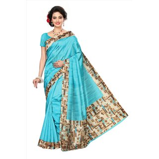 Glamour Blue Art Silk Printed Saree With Blouse