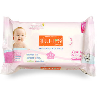 Tulips Baby Care Wet Wipes (Pack of 3) 100 Flushable 60 Wipes each