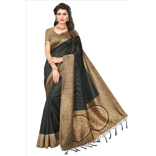 Glamour Black Art Silk Embellished Saree With Blouse