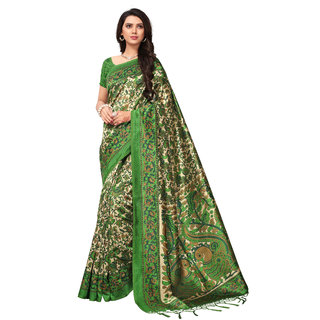Glamour Green Silk Embellished Saree With Blouse