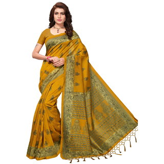 Glamour Mustard Art Silk Embellished Saree With Blouse