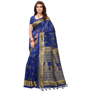 Glamour Blue Art Silk Embellished Saree With Blouse