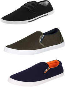 Super Matteress Multicolor Canvas PVC Casual Lace-up Sneakers For Men Pack Of 3
