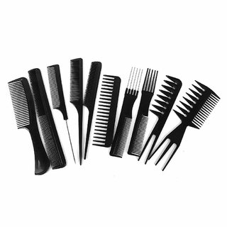 EREIN ALL New Salon Hair Styling Comb Set, Black (Set of 10)