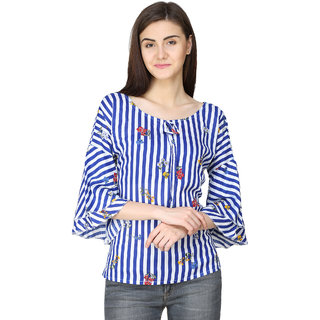 9c834e475b832c Buy Aisa Fashion Blue and white Striped Top for women Online - Get 64% Off