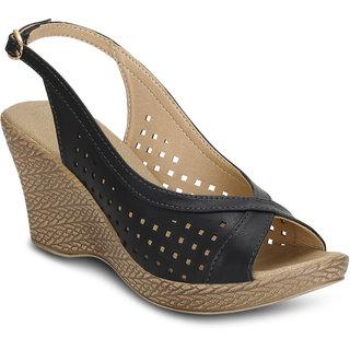 33fe25009c8 Buy Kielz-Black-Women s-Wedge-Sandals Online - Get 60% Off