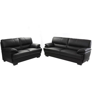 houzzcraft veles sofa set (3+2) in black