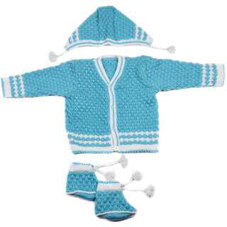 Desi mart Baby Vardhman Woolen Knitted Sweater Set for Infants Unisex 3 Pieces Maroon