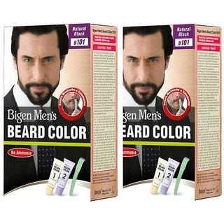 Bigen 100018 Men's Beard Color, Natural Black B101 (20g + 20g) (Pack Of 2)