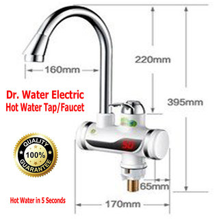 Dr. Water - Instant Electric Heating Hot Water Tap Faucet in Bathroom, Kitchen Basin, Digital Display, Surface Mounted