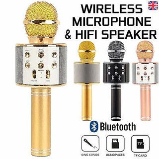 WS-858 Wireless Portable Handheld Singing Machine Condenser Microphones Mic And Bluetooth Speaker Audio Record