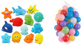 Kuhu Creations Entertaining Colorful Bath Toys. (3 Squeezing Animals, 12 Balls., Multicolor Animals  Balls)