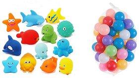 Neo Rising Entertaining Colorful Bath Toys. (3 Squeezing Animals, 12 Balls., Multicolor Animals  Balls)