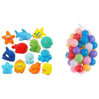 Kuhu Creations Entertaining Colorful Bath Toys. (5 Squeezing Animals, 12 Balls., Multicolor Animals  Balls)