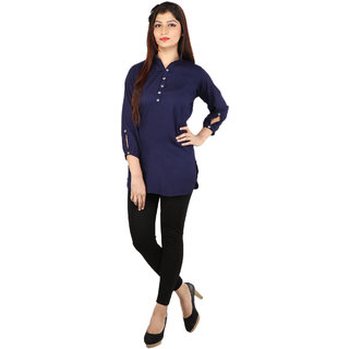Fashion Senora Casual Rayon Blue Color Women's Top 3/4 Sleeves- Stitched