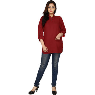 Fashion Senora Casual Rayon Red Color Women's Top 3/4 Sleeves- Stitched