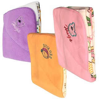 Princeandprincess Double Layer Fleece Reversible Baby Blanket, (Multicolor) (Pack of 3)