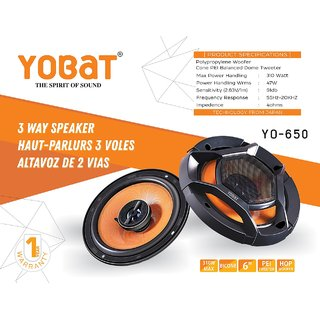 Yobat YO-650 3 Way Speaker 6 Inches 310 Watt Polypropylene Woofer Cone PEI Balanced Dome Tweeter Car Speaker