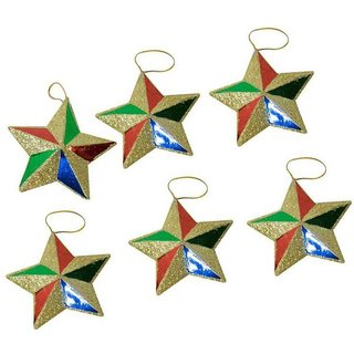 Fragrance N Beauty Paper Christmas Decoration Multicolour - Pack of 6