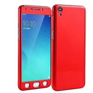 Vivo Y55L Flip Cover by Front  Back Cover With Tempered Glass 360 Degree Protecter Mobile Case Cover - Red