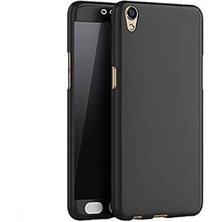 Vivo Y55L Flip Cover by Front  Back Cover With Tempered Glass 360 Degree Protecter Mobile Case Cover - Black