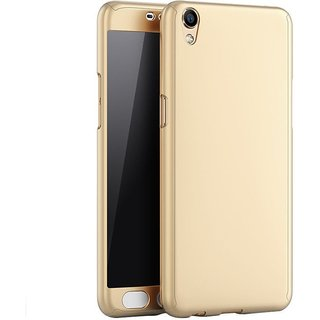 Vivo Y55L Flip Cover by Front  Back Cover With Tempered Glass 360 Degree Protecter Mobile Case Cover - Golden