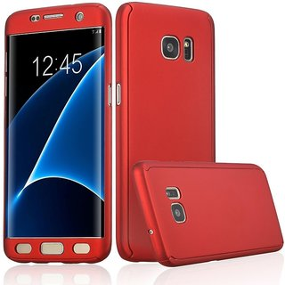 Samsung Galaxy S7 Edge Flip Cover by Front  Back Cover With Tempered Glass 360 Degree Protecter Mobile Case Cover - Red