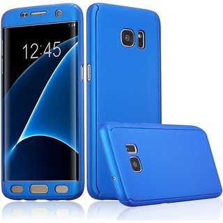Samsung Galaxy S7 Edge Flip Cover by Front  Back Cover With Tempered Glass 360 Degree Protecter Mobile Case Cover - Blue