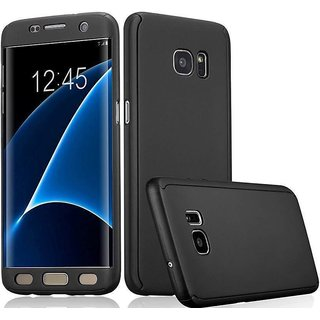 Samsung C9 Pro Flip Cover by Front  Back Cover With Tempered Glass 360 Degree Protecter Mobile Case Cover - Black