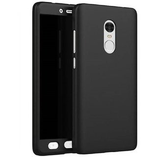 Redmi Note 4  Front  Back Cover With Tempered Glass 360 Degree Protecter Mobile Case Cover - Black