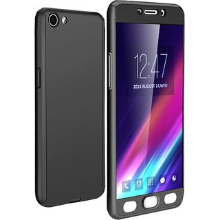 Vivo V5  Front  Back Cover With Tempered Glass 360 Degree Protecter Mobile Case Cover - Black