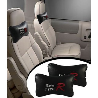 CAR SEAT NECK CUSHION PILLOW SET OF 2 BLACK FOR MAHINDRA KUV100