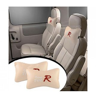 CAR SEAT NECK CUSHION PILLOW SET OF 2 BEIGE FOR MARUTI 800