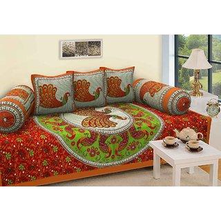 LAXITA 6 Piece Cotton Single Diwan Set - Abstract, Multicolour