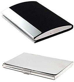 Mr. Alex 201-A+Steel Silver , RFID Stainless Steel ATM / Visiting /Credit Card Holder, ID Card Holder (Pack of 2)