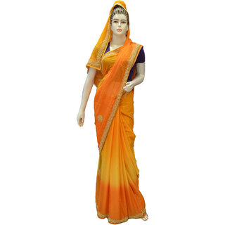 Indians Boutique  Calcutta Handwork   Saree  (Musturd)