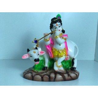Little Krishna With Nandi