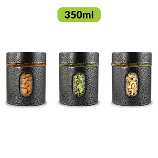 Home Puff Premium Airtight Glass Canisters Set 350ML 3-Piece (Silver)