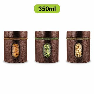 Home Puff Premium Airtight Glass Canisters Set 350ML 3-Piece (Copper)