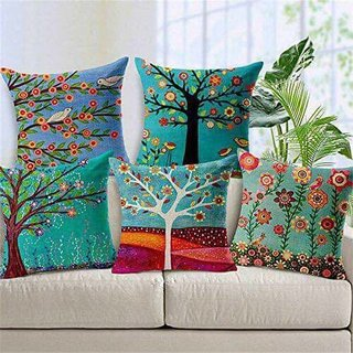 Shakrin Jute Polyester Cushion Covers Set Of 5 , Trees And Floral Printed