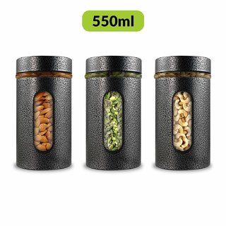 Home Puff Premium Airtight Glass Canisters Set 550ML 3-Piece (Silver)